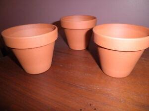 3 Small Clay Pots