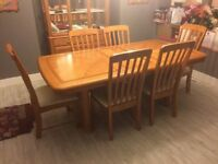 Lanton Oak Dining Table,Buffet,Hutch And 6 Chairs MUST GO!