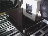 3 pieces of furniture all black glass