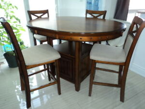 Round Pub Table with 4 Chairs
