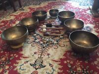 Special Offer: Full set of 7 Handmade Full Moon Singing Bowls -BIG SIZE- from the Himalayas.