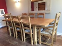 Rustic Oak Dining Table and Chairs