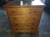 Quality antique pine chest of drawers and bedside locker