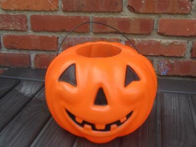 Vintage Halloween Puffy Cheek Pumpkin Jack-o-Lantern Blow Mold Candy Bucket