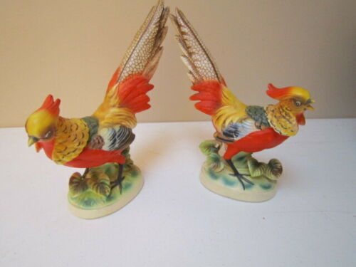Vintage Pair of Ceramic Golden Pheasant Figurines