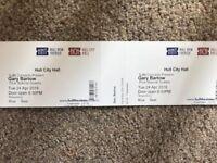 2 x Gary Barlow tickets Hull City Hall Tuesday 24th April