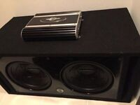 Two Subs Glossy Box and Amp 1700 Watts Aprox