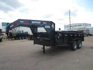 "14' LAMAR G/N DUMP TRAILER, 2 X 7K AXLES, TARP   ""READY TO WORK"""