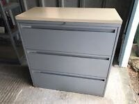 Large Grey Metal filing cabinet with Wooden top & keys