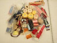 Vintage sewing dressmaking lot zip hook bias crochet yarn thread ribbon cotton etc 40 items