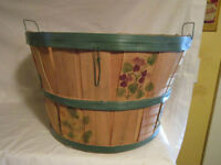 Wooden Bushel Basket - Wire Handles - Painted Flowers