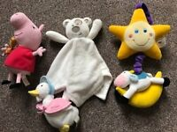 Baby bundle 4 toys;light up pull cord cot chime, Peppa Pig, Jemima Puddleduck, blanket