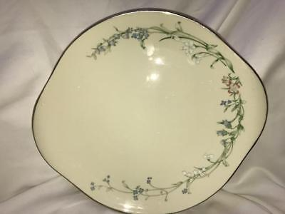 Minton Brookwood Fine Bone China Platinum Trim Round Cakeplate Handled