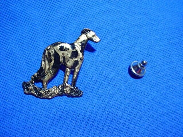 IG Whippet Greyhound pewter tie tack OOAK painted Dog Hound Jewelry CAC Designs