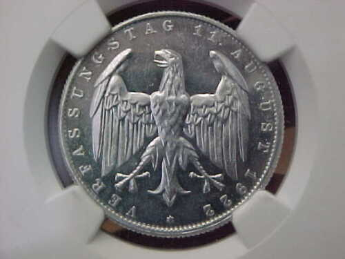 1922 E GERMANY GERMAN WEIMAR CONSTITUTION 3 MARK NGC PR61 CAMEO PROOF 61 FROSTED