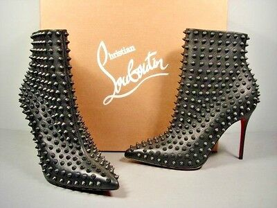 Louboutin 37.5/7 Snakilta black matte leather spikes ankle boots booties New