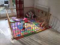 Large 8 sided wooden baby playpen - with gate
