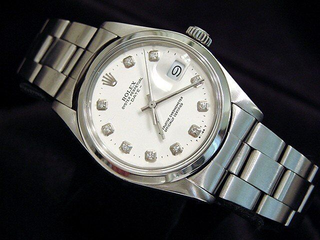 Mens Rolex Date Stainless Steel Watch Oyster Folded Band White Diamond Dial 1500