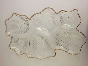 Vintage, lg glass cut, sectional serving plater
