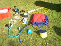 3 person tent 907 gas bottle, Calor 4.5Kg cylinder Electrical hook up cable RCD,, Camp beds etc