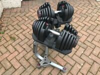 Bowflex 1090 Adjustable Dumbels - 90lbs each with Stand
