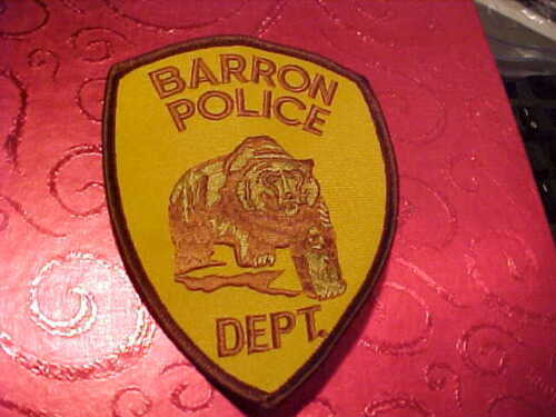 BARRON WISCONSIN  POLICE PATCH SHOULDER SIZE UNUSED