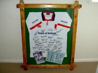 Signed Ulster Rugby top in antique pine frame