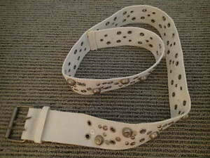 NEW Women's White Canvas Belt with Detail