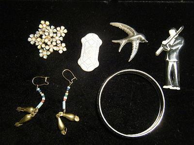 6 Piece Player Costume (6 pieces 1940s/80s Costume: Plastic Trombone player, Metal Bird Pin, etc.  +)