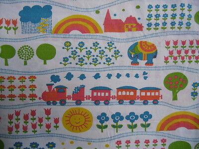 GRAZIELA Bettwäsche aus den 70ern 2tlg. Set EISENBAHN vintage