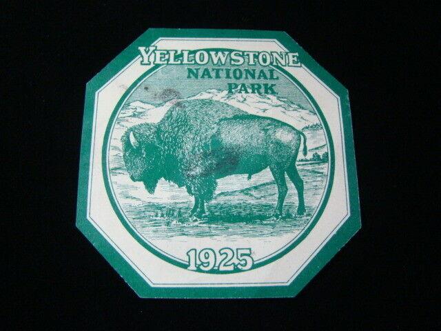 "1925 Yellowstone National Park Season Pass For Automobile ""Bison"" Rare"