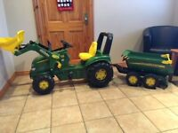 Ride On John Deere Tractor with Trailer and Front Loader
