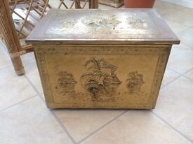 A Vintage Brass Embossed log or Coal Box