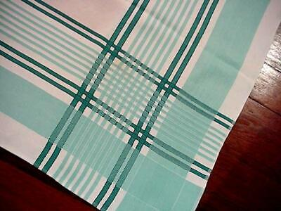 Vintage AQUA Stripe 50's LG Tablecloth Mid-Century Classic Turquoise White FAB!