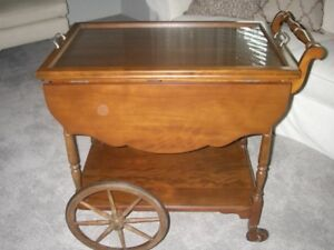 TEA CART CIRCA 1930 - SOLID WALNUT (REFINISHED)