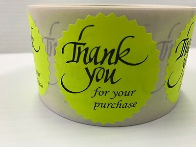100 Thank You For Your Purchase 2 Sticker Starburst Yellow Neon New Thank You