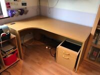 Large office corner desk and drawers
