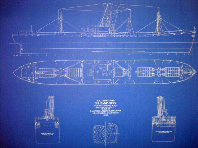 "Liberty Ship WW2 SS Zane Grey 1942 Blueprint Plan 24""x31""  (075)"