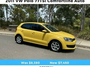 2011 Volkswagen Polo 6R 77TSI Comfortline Hatchback 5dr DSG 7sp 1.2T Yellow Arncliffe Rockdale Area Preview
