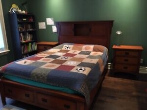 Queen size bed. Youth or Adult. Book shelves, 4 drawers.