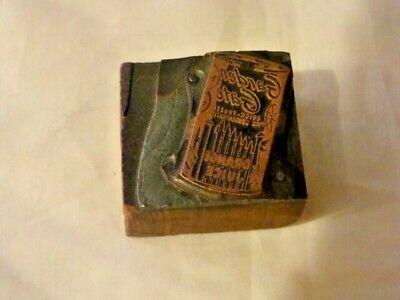 Vintage Letterpress Printer Block Cut Picture Copper Garden Gate Orange Juice