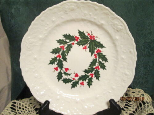 """STEUBENVILLE Rose Point CHRISTMAS HOLLY Dinner Plate 10"""" Made in USA"""