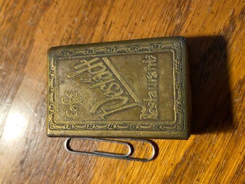 German Pre War Brass Matchbox Holder Westadt Cafe Berlin 1930