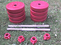 38 lb 17 kg Red Dumbbell & Barbell Weights