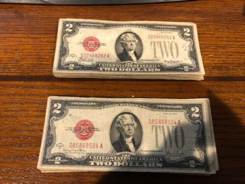 ✯1928 Series RARE Two Dollar Bill $2 Note Red Seal Old Paper Money ✯ G - VG