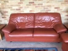 King quality leather suite, bunt orange colour optional extra rug Glen Alpine Campbelltown Area Preview