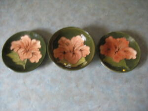 Moorcroft Peach Hibiscus Bowl and Two Pin Dishes MINT CONDITION