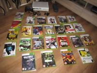 Xbox 360 large package, 25 games, also 5 demo games on hard drive, HD out, with wireless remote,