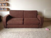 Brown Corduroy Sofa Bed in Excellent Condition with Lampolet Bed Mechanism