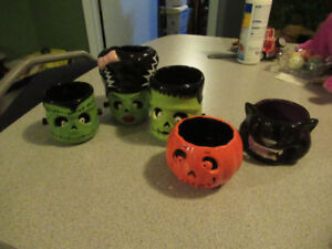 SET of 5 BATH & BODY WORKS HALLOWEEN CANDLE HOLDERS